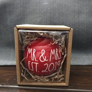Rae Dunn Mr & Mrs est 2019 ornament NIB